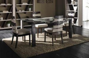 Tavolo cross, Dining table with glass top, ethnic style