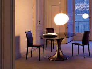 Picture of Tulle oval, dining tables with glass top