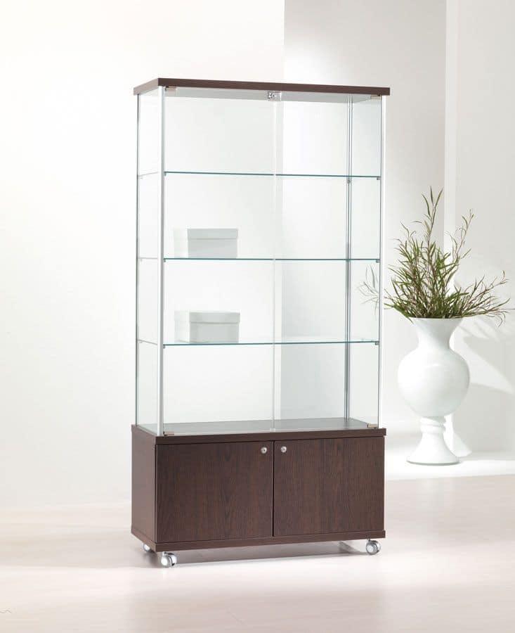 ALLdesign 93/M, Modern Showcase, Glass Shelves, 2 Door Base Cabinet
