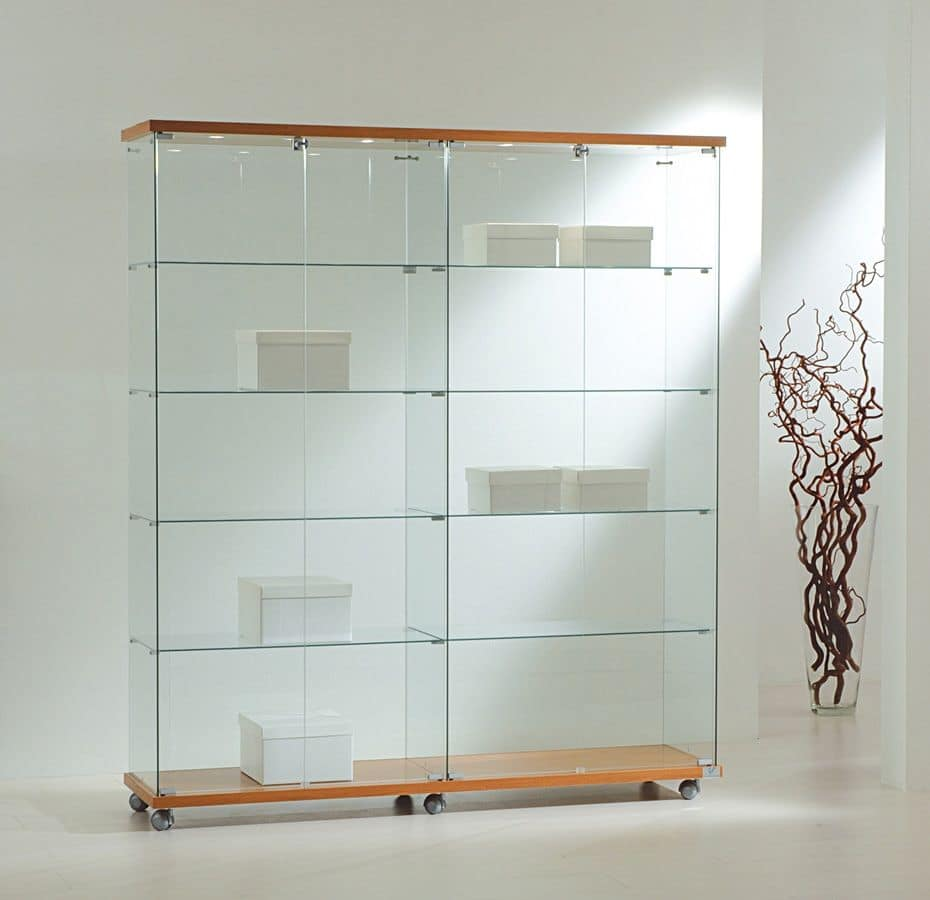 Illuminated Glass Cases Base With Wheels Displays