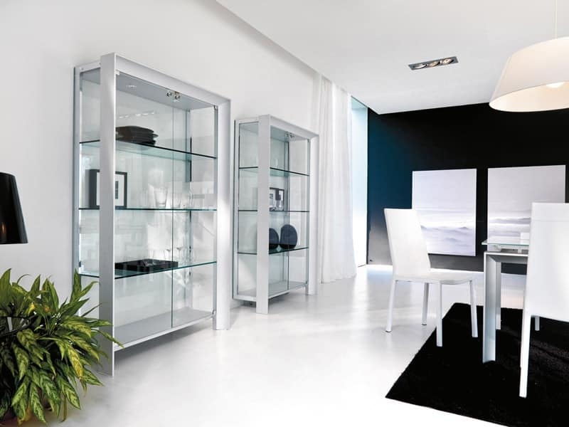 Showcase modern in wood metal and glass for dining room for Vetrina per sala da pranzo moderna