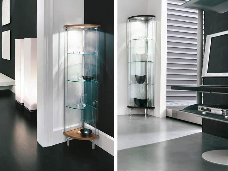 display cabinet in curved glass top and base in matt wood