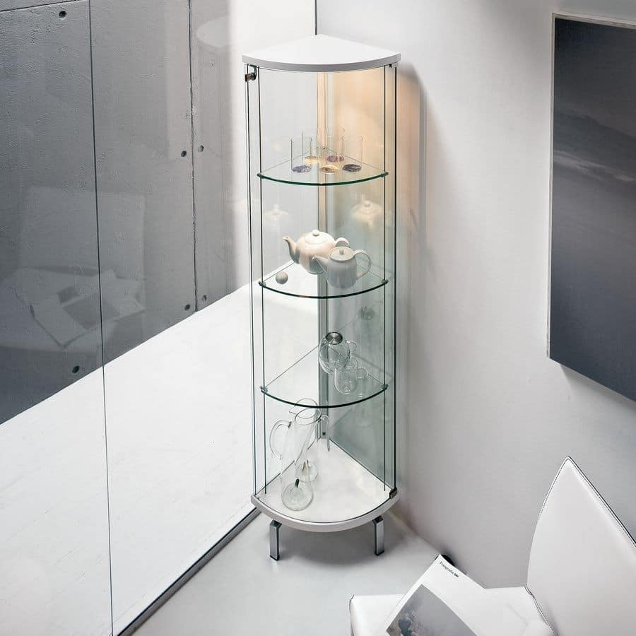 Bow Window Curved Window Seating Narrow Tall Fixed: Display Cabinet In Curved Glass, Top And Base In Matt Wood