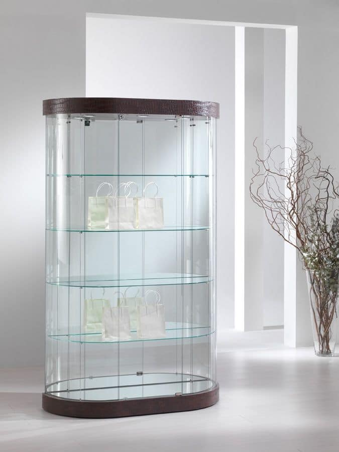 Glass Showcase Designs For Living Room: Oval Showcase, Tempered Glass, 4 Shelves, For Stores And