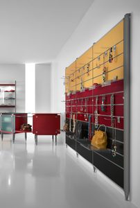 Contemporary - wall unit for accessories store, Wall-mounted display rack with hooks or shelves