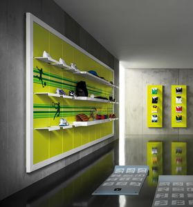 Revolution - wall unit for sport store, Wall shelving for sports shops