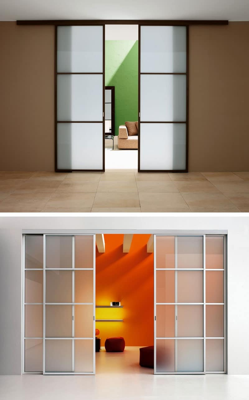 Sliding door with guide track shutters in stained glass for In wall sliding door