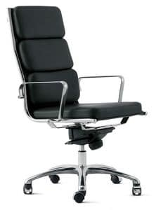 LIGHT 18000, Office armchair with fine leather upholstery