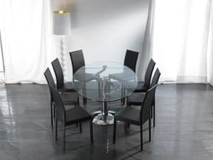 Art. 656 Ellisse, Elliptical glass table with chrome metal base