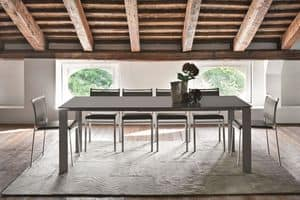 SATURNO TA188, Extendable table with glass for modern kitchens