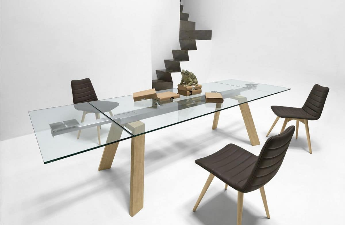 Extendable table with top in glass idfdesign for Salontisch metall