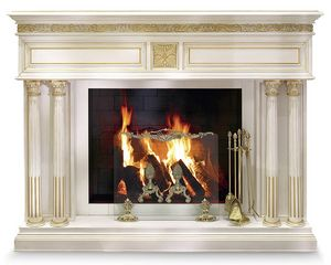 4059F, Carved wood fireplace