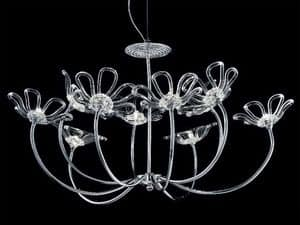 Daisy chandelier, Chandelier with chromed metal frame, glass diffusers