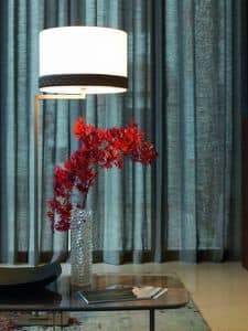 ELYSEE floor lamp, Floor lamp with square base and cylindrical lampshade