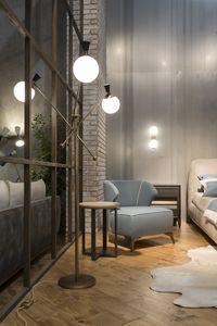 Igloo standing lamp, Metal floor lamp, with opaque spherical lights