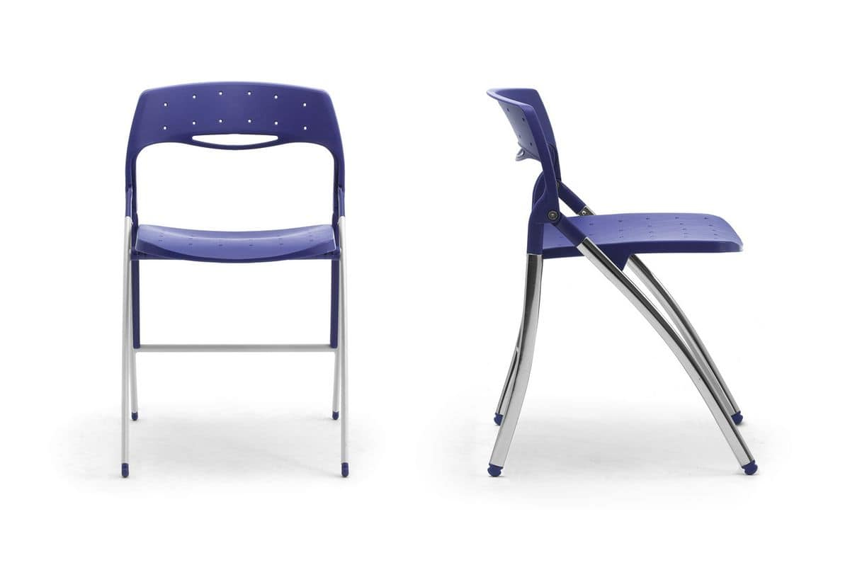 Colored folding chair space saving