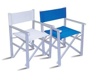 CHAT67, Aluminium director chair, seat and back in PVC