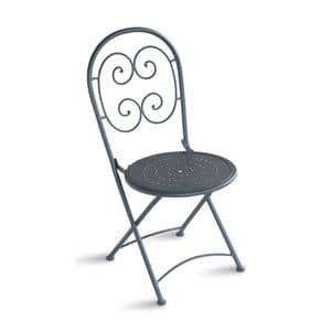 CHF08, Folding chair made of galvanized steel, for outdoors