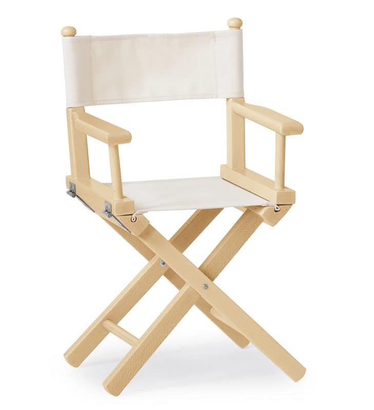 Folding chair in wood and fabric for children
