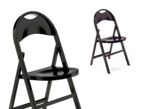 Naima, Elegant folding chair, in dark wood