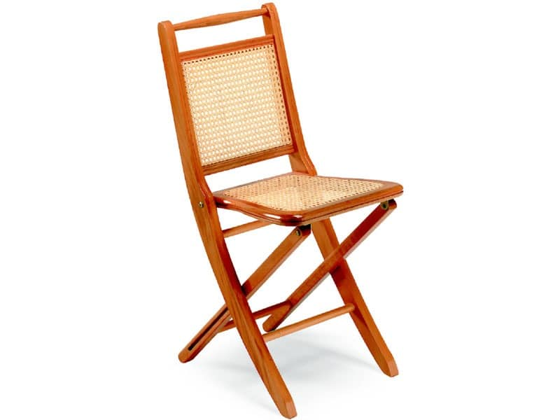 Paola, Folding chairs in wood, cane seat and backrest