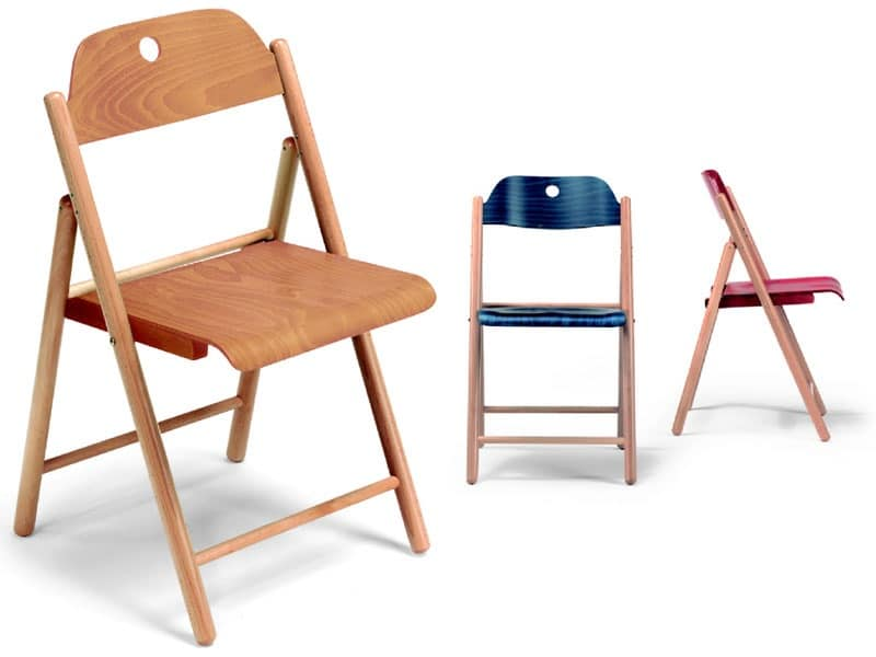 Stoppino, Wooden chairs, folding, for contract use