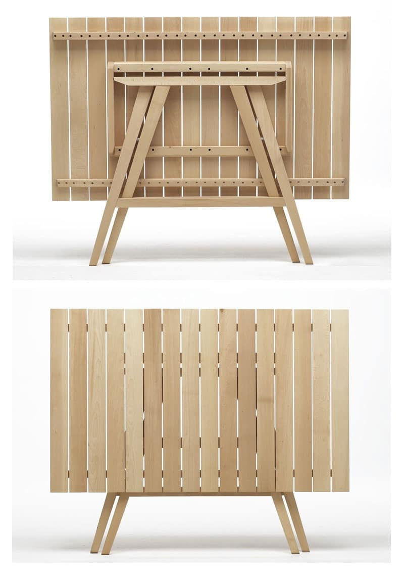 Enea Rectangular, Folding wooden tables, for catering