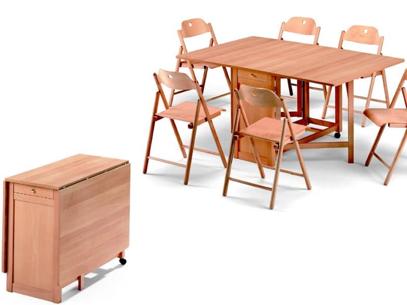 Ginger table, Stoppino chair, Space-saving table, foldable, made of beech wood