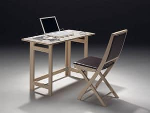 Tavolo P rectangular, Stowable table, available in various wood finishes