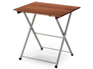 Tavolo Spring, Metal folding table, with wooden top