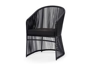Tibidabo armchair, Chair in synthetic fiber and aluminum, for outdoors