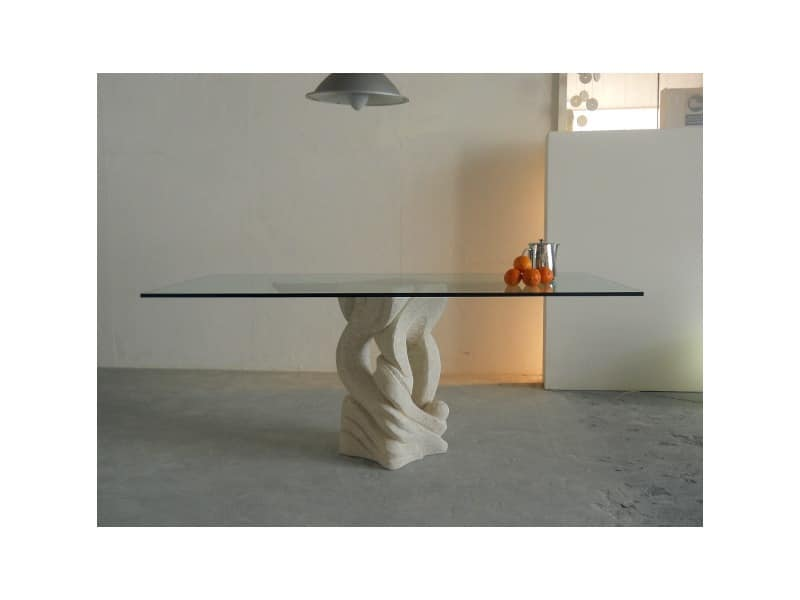 Australe, Rectangular dining table with top in glass