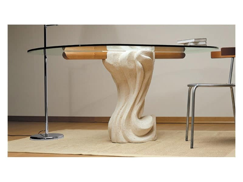 Essenza cherry wood, Oval table with top in glass and base in stone