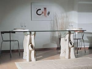 Magellano, Dining table with top in glass and base in stone
