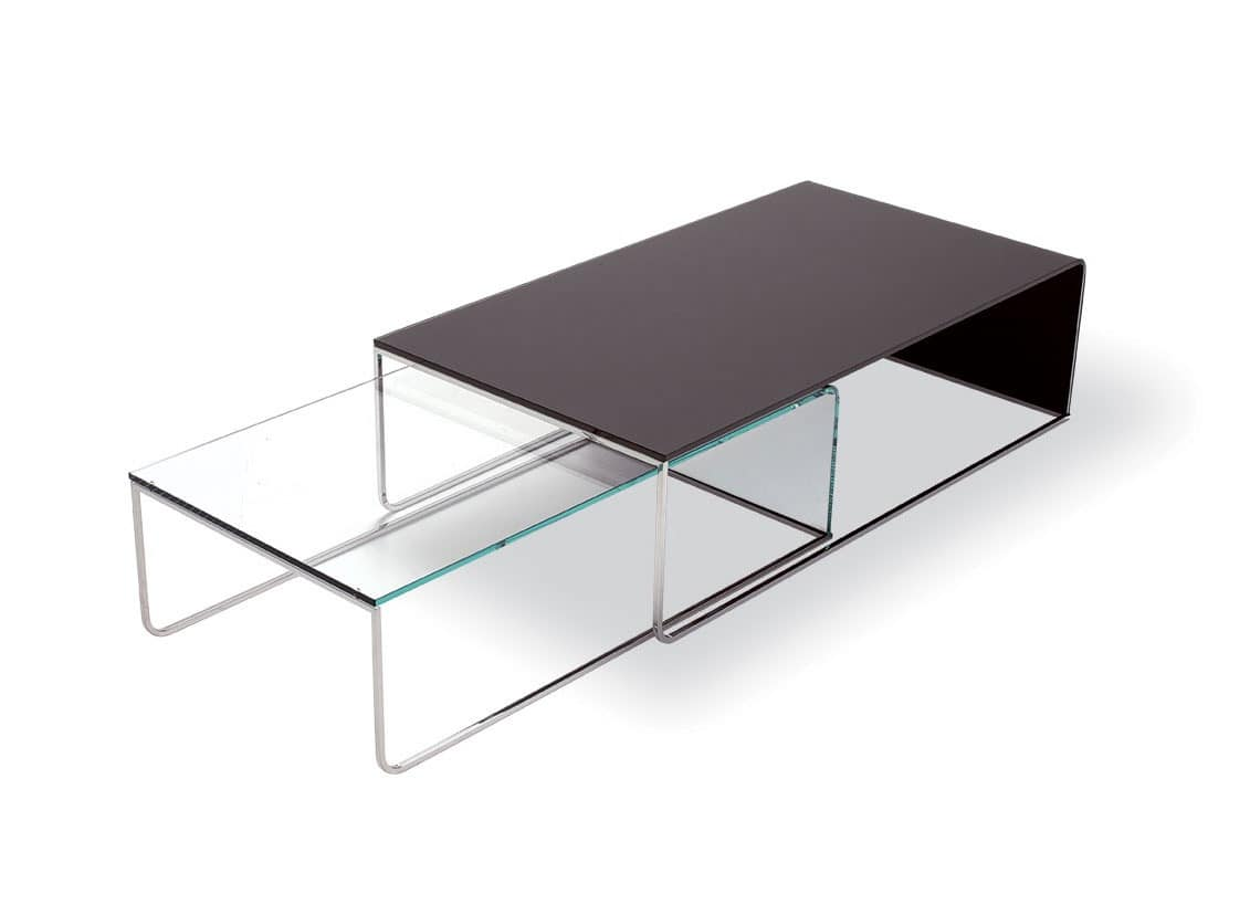 Modern Coffee Table In Curved Glass And Chrome Tubing For Lobby Idfdesign