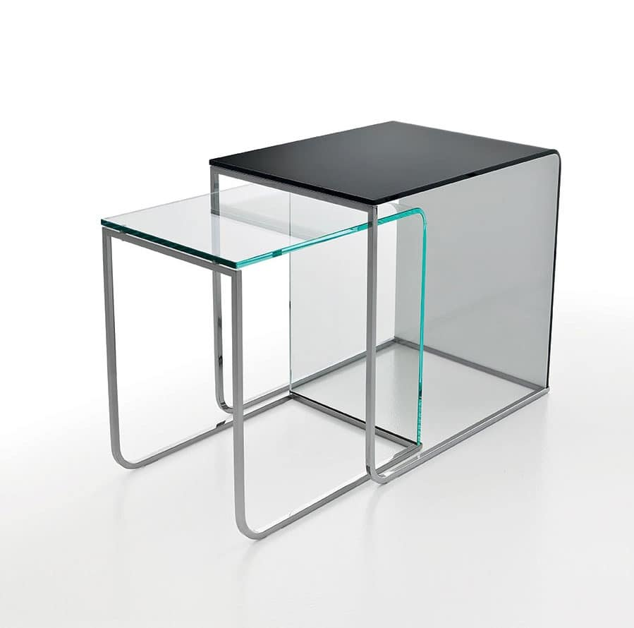 Modern Coffee Table In Curved Glass And Chrome Tubing, For