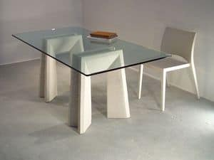 Riflesso table, Dining tables with top made of glass and legs made of stone