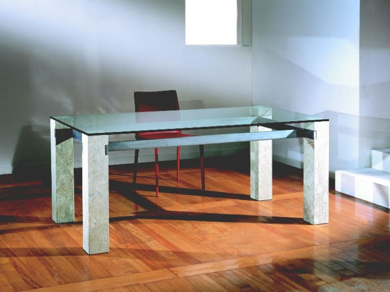 Ulisse, Rectangular table with stone structure, for home and Office
