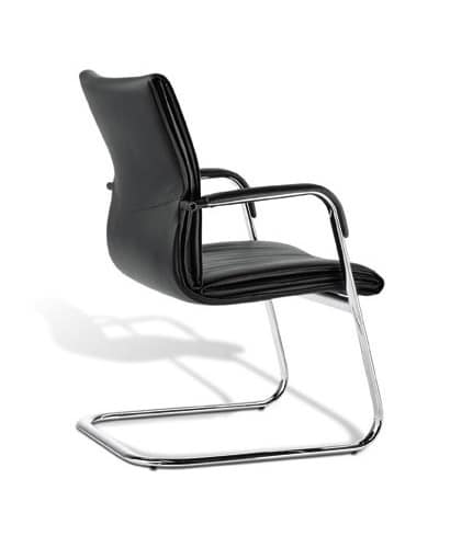 Berlin 03, Visitor chair with integrated armrests, for office