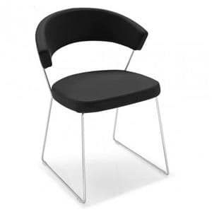 Cesare slide, Chrome sled chair, with imitation leather cover