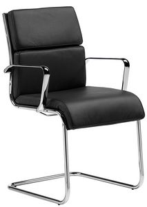 Teknik-C cantilever, Comfortable office visitor chair, with leather cushions