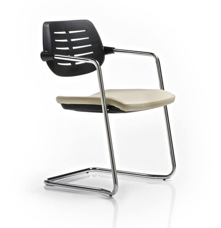 chair with sled base upholstered seat plastic back
