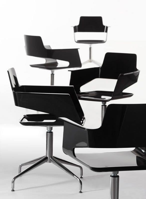 B32 SP, Swivel chair, modern design, shiny nylon shell