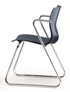 WEBBY 331, Visitor chair with sled base in chromed metal