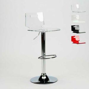 Bar stool and chrome steel kitchen SAN JOSE Modern Design - SGA800SNJ, Stool with transparent plastic shell