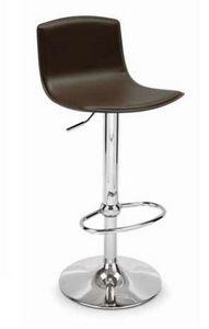 Lash, Modern stool, adjustable, in leather