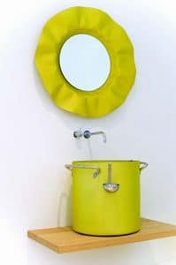 Chef - Mirror, Mirror with wavy frame with lights