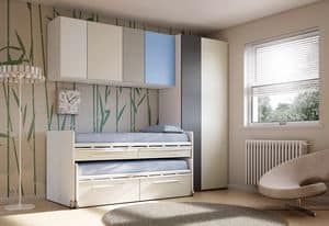 Bridge KP 202, Children bedroom with trundle bed, in various finishes