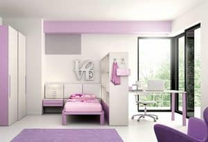 Cahildren bedroom KC 108, Children bedroom with customizable lacquered paneling