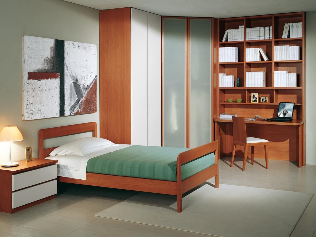 Camera Ragazzi 03, Modern bedroom for children, with corner wardrobe